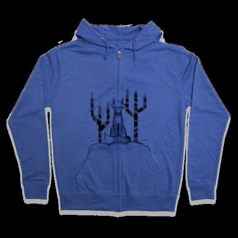 Blue Fox Zip Hoodie