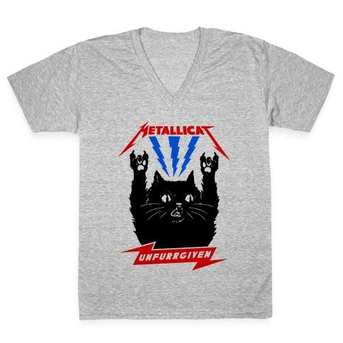 Metallicat Unfurrgiven V-Neck Tee Shirt