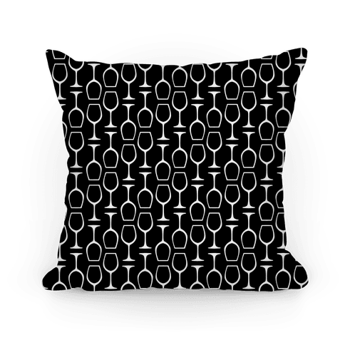 Black and White Wine Glasses Pattern Pillow