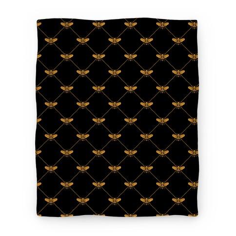Regal Golden Honeybee Pattern Blanket
