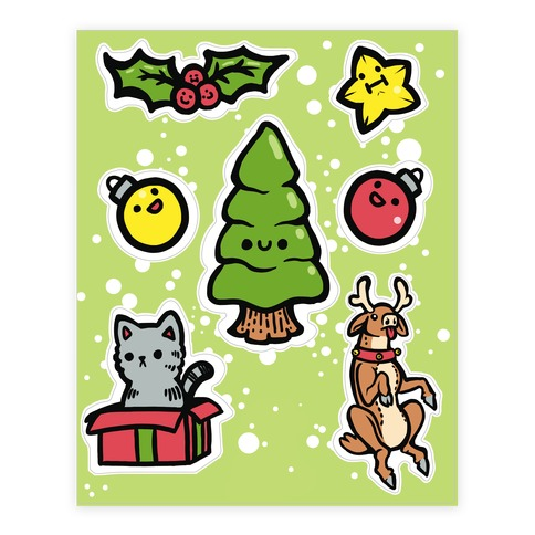 Cute Christmas Friends  Sticker/Decal Sheet
