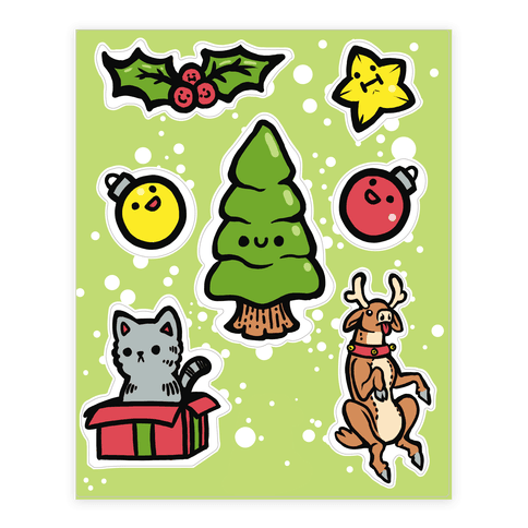 Cute Christmas Friends Sticker and Decal Sheet