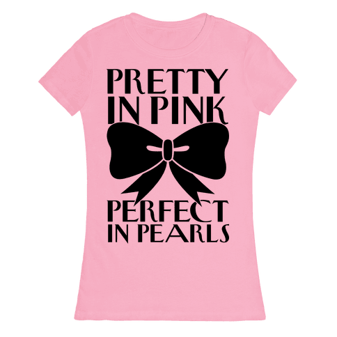 Pink And Pearls Womens T-Shirt