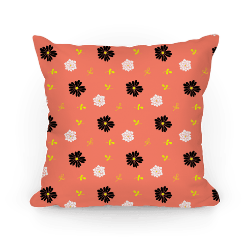 Coral Floral Tossed Pattern Pillow