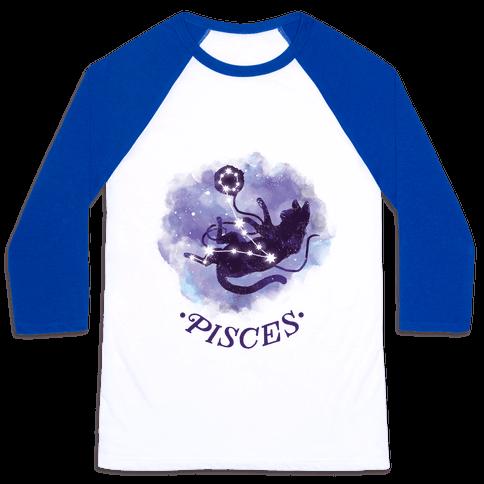 Cat Zodiac: Pisces Baseball Tee
