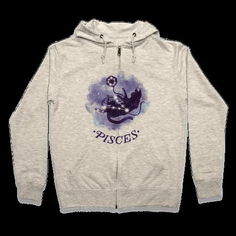 Cat Zodiac: Pisces Zip Hoodie