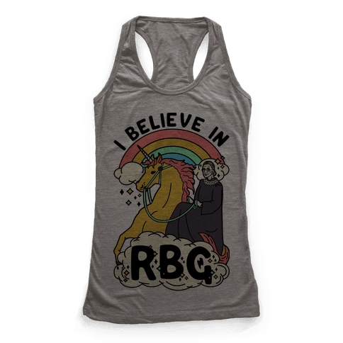 Ruth Bader Ginsburg on a Unicorn Racerback Tank Top