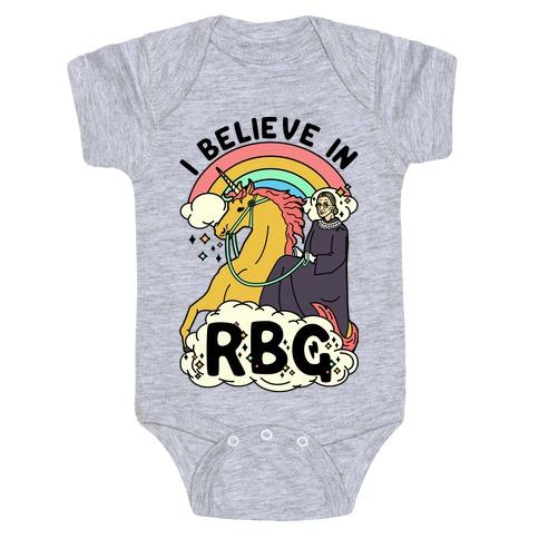Ruth Bader Ginsburg on a Unicorn Baby Onesy