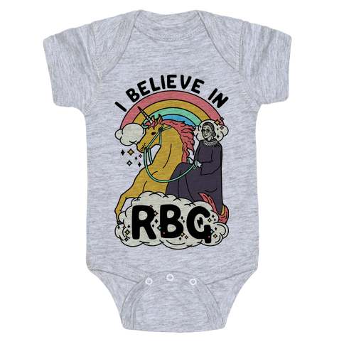 Ruth Bader Ginsburg on a Unicorn Baby Onesy