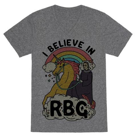 Ruth Bader Ginsburg on a Unicorn V-Neck Tee Shirt