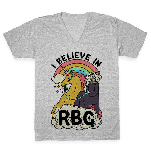 Ruth Bader Ginsburg on a Unicorn V-Neck Tee Shirt