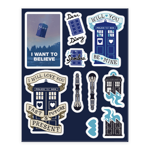 Doctor Who Tardis  Sticker/Decal Sheet