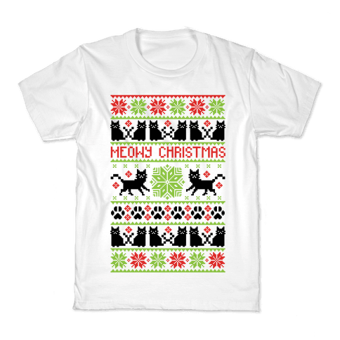 Meowy Christmas Cat Sweater Pattern Kids T-Shirt