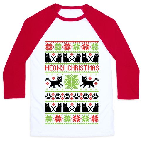 Meowy Christmas Cat Sweater Pattern Baseball Tee