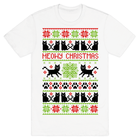 Meowy Christmas Cat Sweater Pattern Mens T-Shirt