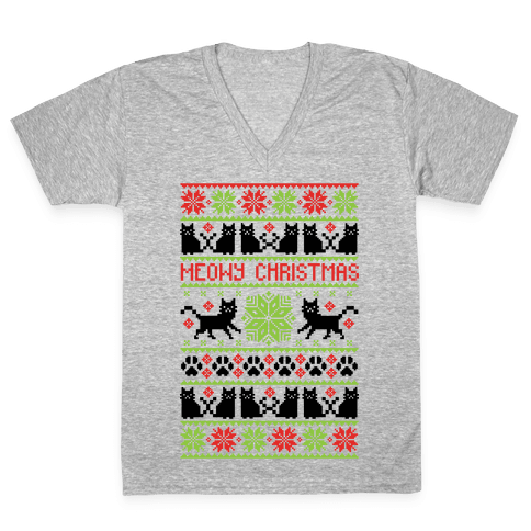 Meowy Christmas Cat Sweater Pattern V-Neck Tee Shirt