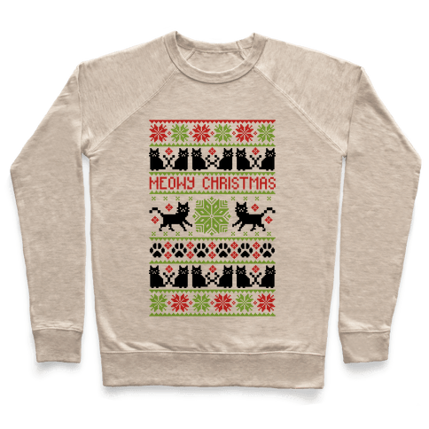 Meowy Christmas Cat Sweater Pattern Pullover