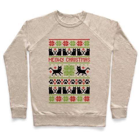 Meowy Christmas Sweater.Meowy Christmas Cat Sweater Pattern Crewneck Sweatshirt Lookhuman
