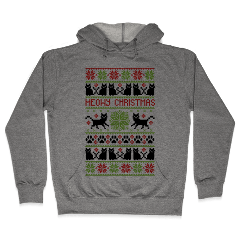 Meowy Christmas Cat Sweater Pattern Hooded Sweatshirt