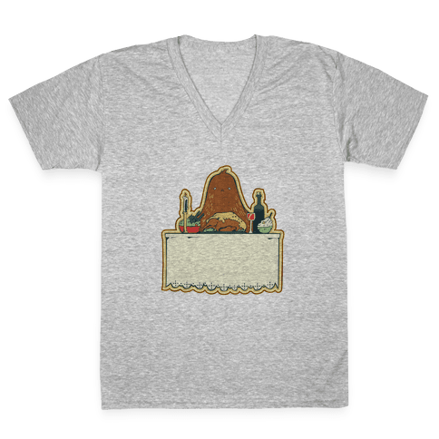 And Big Foot dined alone V-Neck Tee Shirt