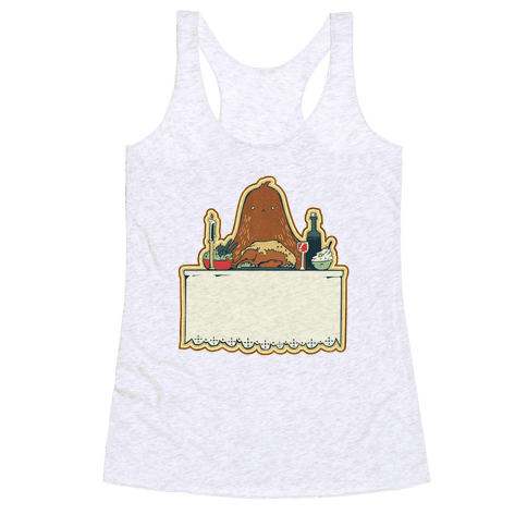 And Big Foot dined alone Racerback Tank Top