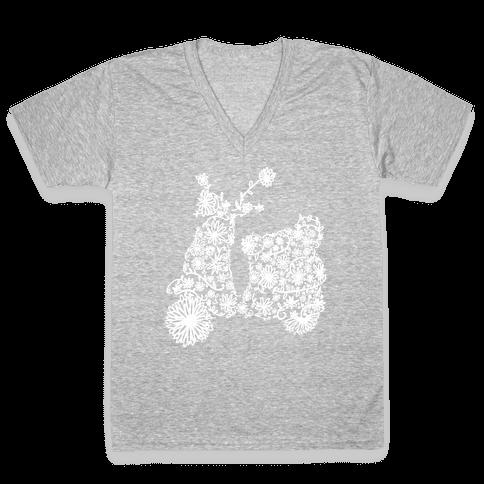 Floral Vespa V-Neck Tee Shirt