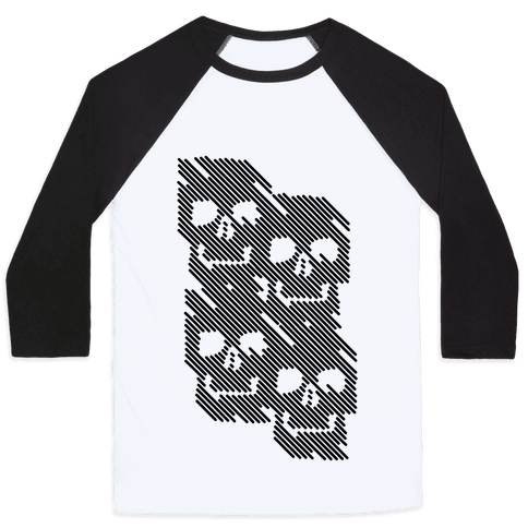 Repeating Skull Bars Baseball Tee