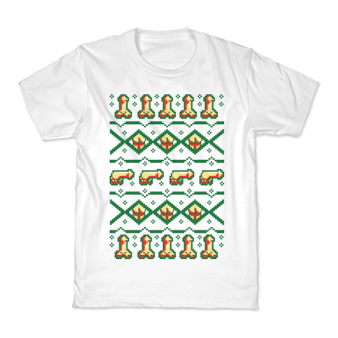 Dicks and Butts Ugly Sweater Pattern Kids T-Shirt
