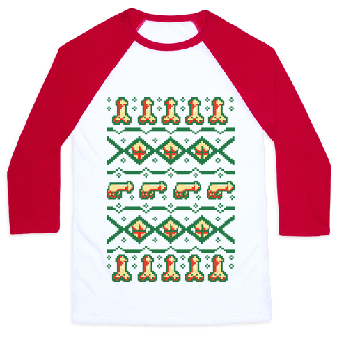 Dicks and Butts Ugly Sweater Pattern Baseball Tee
