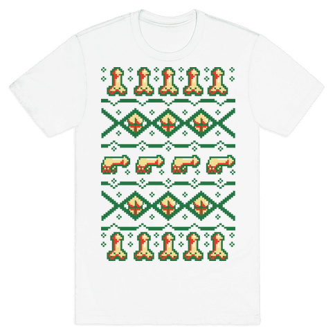Dicks and Butts Ugly Sweater Pattern Mens T-Shirt