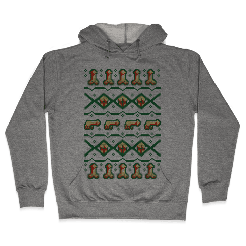 Dicks and Butts Ugly Sweater Pattern Hooded Sweatshirt