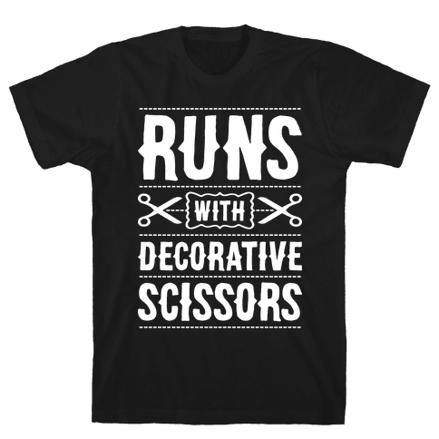 Runs With Decorative Scissors Mens T-Shirt