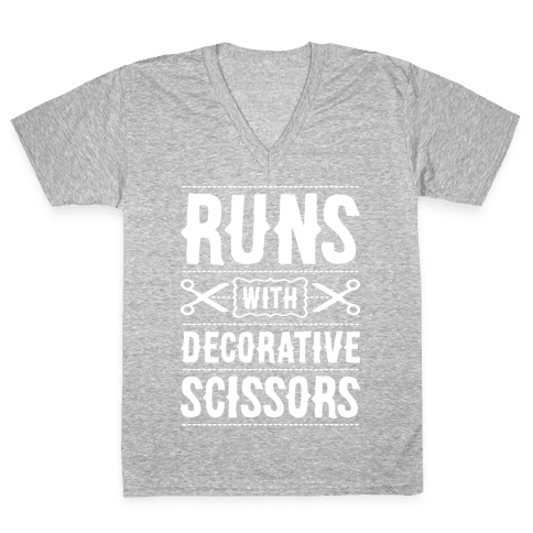 Runs With Decorative Scissors V-Neck Tee Shirt