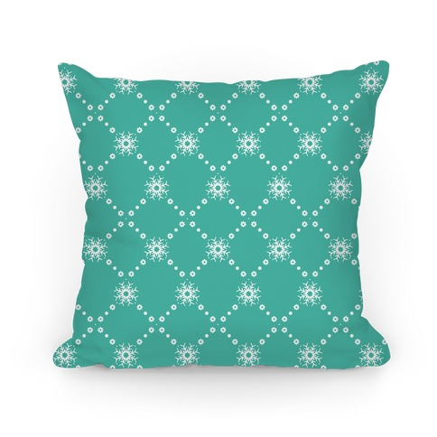Turquoise Snowflake Pattern Pillow