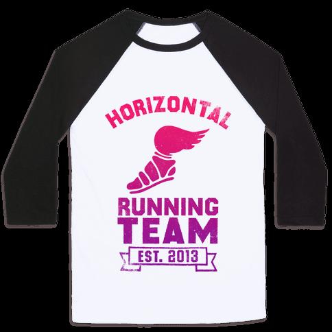 Horizontal Running Team Baseball Tee
