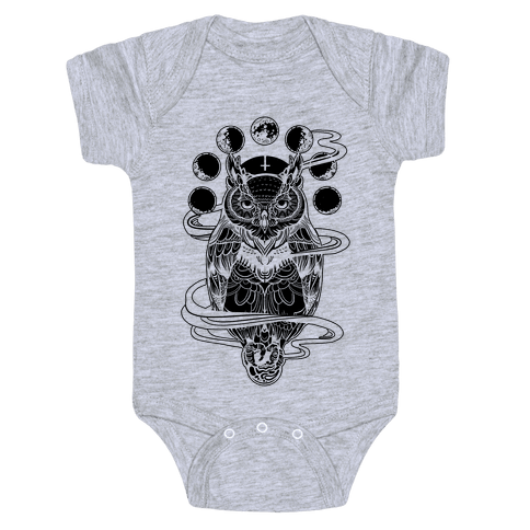 Witch's Owl Under the Phases of the Moon Baby Onesy