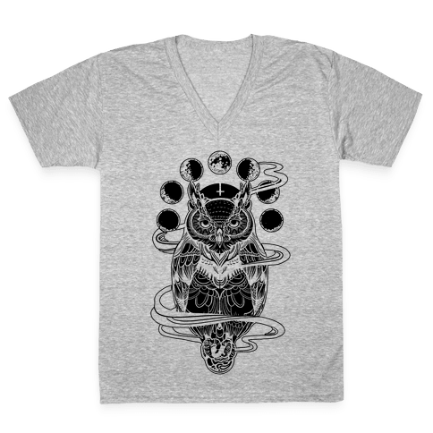 Witch's Owl Under the Phases of the Moon V-Neck Tee Shirt