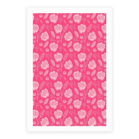 Floral and Leaves Pattern (Pink) Poster