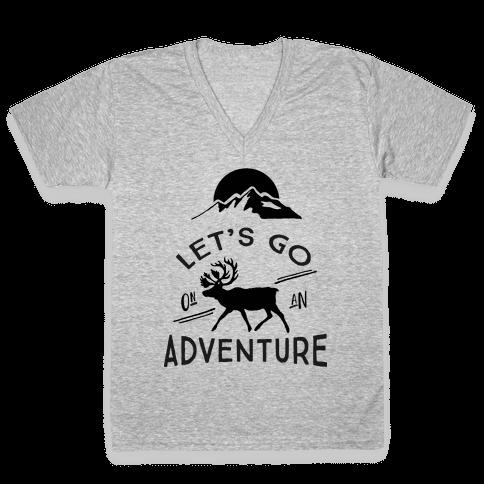 Let's Go On An Adventure V-Neck Tee Shirt