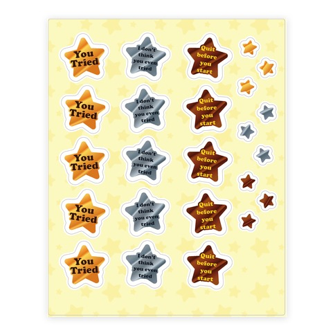 You Tried Stars Sticker and Decal Sheet