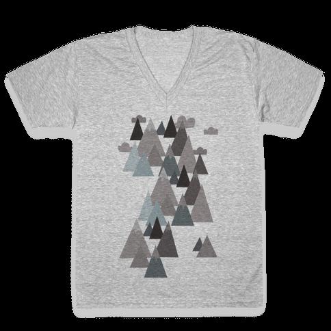 Winter Mountains V-Neck Tee Shirt