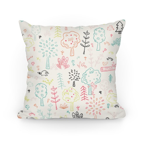 Cute Bigfoot Forest Pattern Pillow