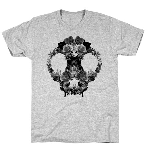 Floral Cat Skull Collage T-Shirt