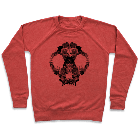 Floral Cat Skull Collage Pullover