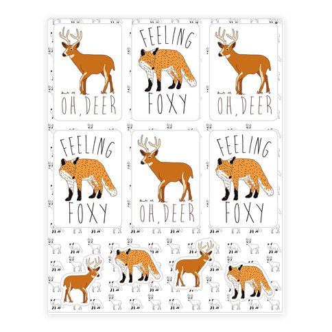 Fox And Deer  Sticker/Decal Sheet