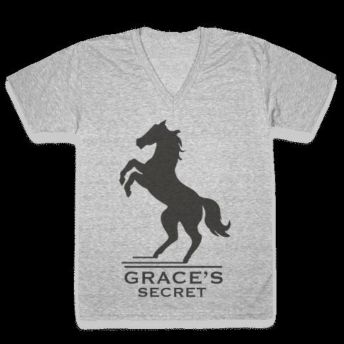 Grace's Secret Faux Fashion Logo V-Neck Tee Shirt