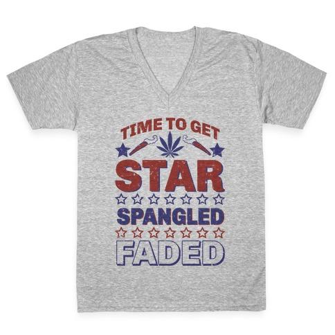 Star Spangled Faded V-Neck Tee Shirt