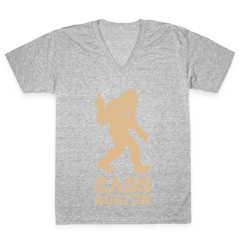 Sass Quatch Crossing V-Neck Tee Shirt