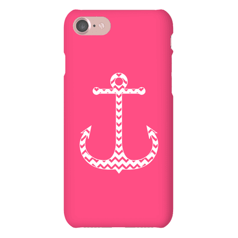 Chevron Anchor Case (Pink and White) Phone Case