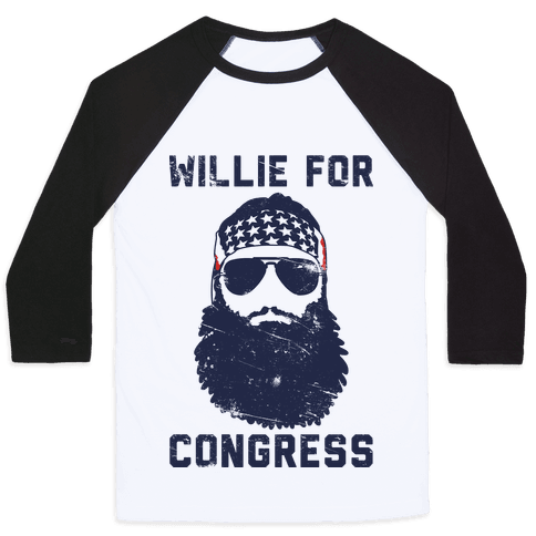 Willie For Congress  Baseball Tee